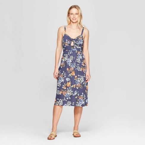 Women's Floral Print Sleeveless V-Neck Smocked Waist Maxi Dress - Xhilaration™ Navy XS - image 1 of 2