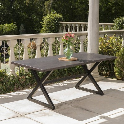 Rolando Rectangular Aluminum Dining Table - Brown - Christopher Knight Home