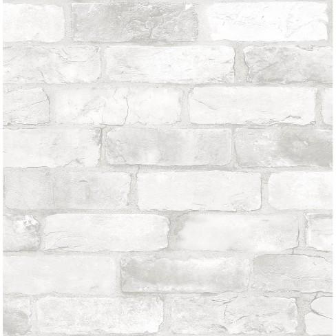 Loft White Brick Peel Stick Wallpaper Brewster