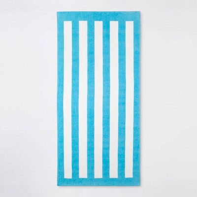 Cabana Stripe Beach Towel Blue/White - Sun Squad™