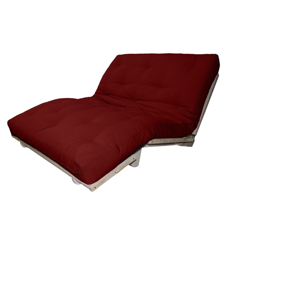 8 Cotton Filled Sit, Lounge or Sleep Futon Sofa Sleeper Bed Twill Fabric Crimson (Red) - Epic Furnishings