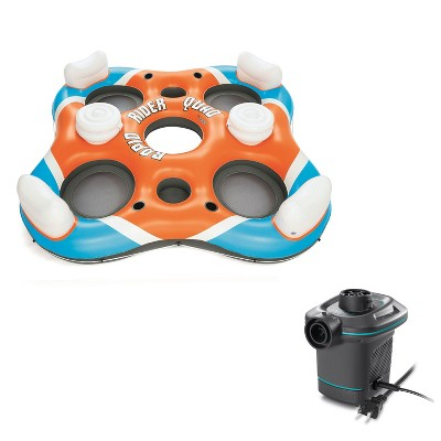 Bestway Rapid Rider 4 Person Floating Island River Lake Raft & Electric Air Pump