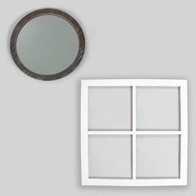 2pc Window Pane & Mirror Decor - Bullseye's Playground™