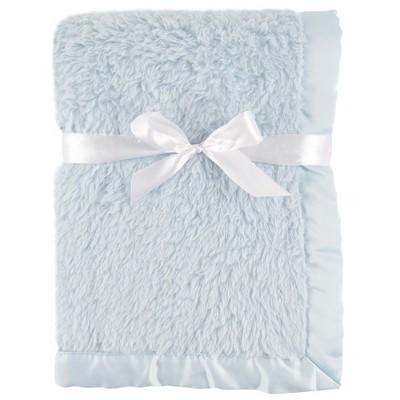 Hudson Baby Infant Boy Sherpa Plush Blanket with Satin Binding, Powder Blue, One Size