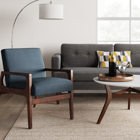 . Peoria Wood Arm Chair Blue   Project 62