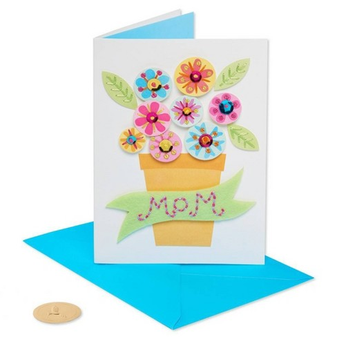 Stitched Pot Of Flowers Mother's Day Greeting Card - PAPYRUS - image 1 of 4