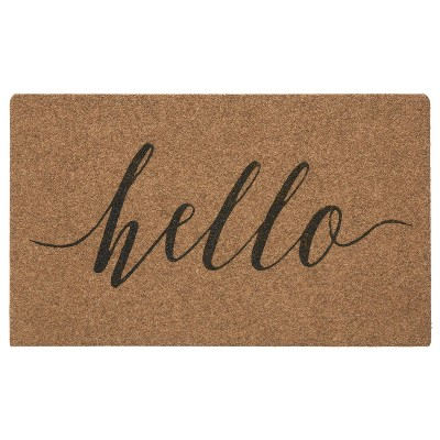 "1' 6""x2' 6"" Grand Terrace Natural Hello Calligraphy Door Mat - Mohawk"