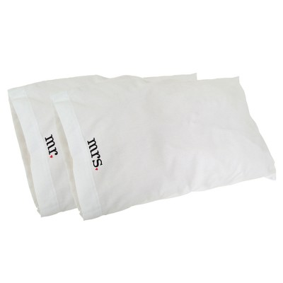 Hortense B. Hewitt Embroidered Mr. and Mrs. Pillowcase Set - White