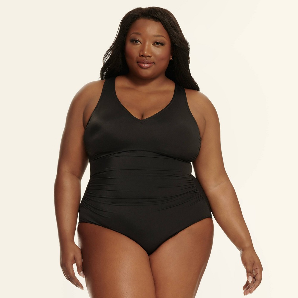 Image of Dreamsuit by Miracle Brands Women's Plus Slimming Control Size Strappy Back One Piece Swimsuit - Black 16W