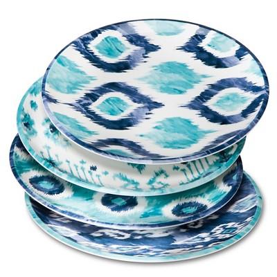 Blue Ikat Melamine Salad Plates 9in - Set of 4
