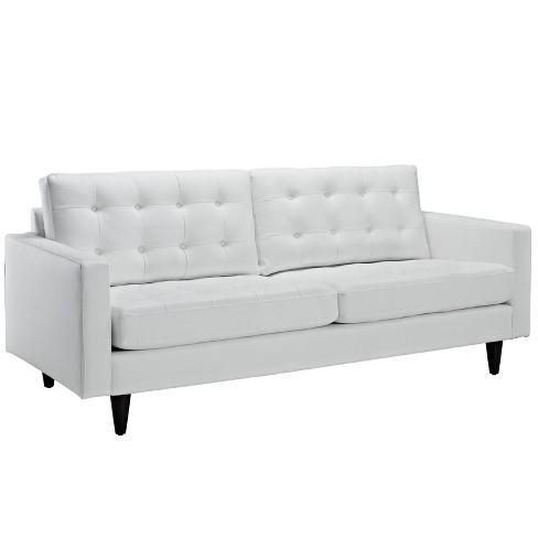 Empress Bonded Leather Sofa White Modway