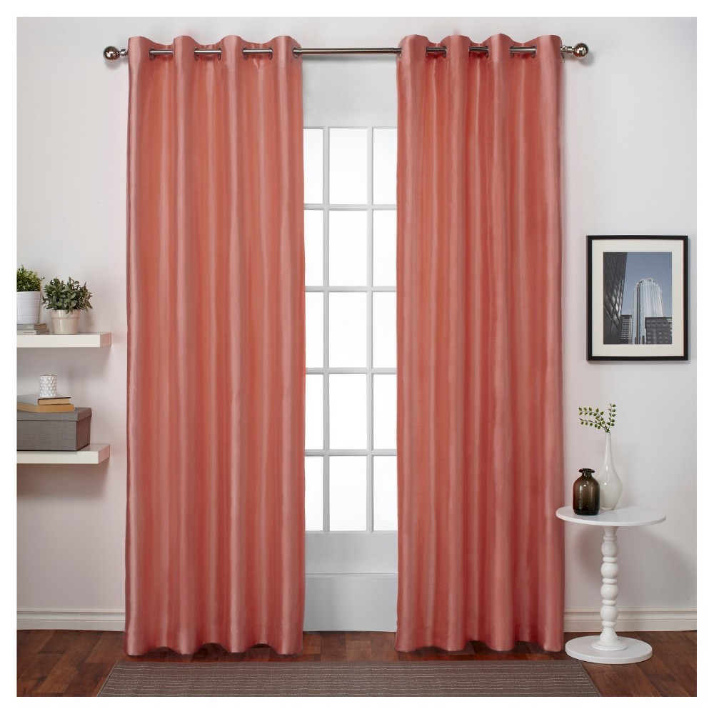 Chatra Faux Silk Grommet Top Window Curtain Panel Pair Coral (Pink) (54