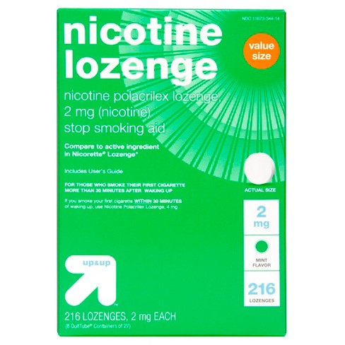 Nicotine 2mg Lozenge Stop Smoking Aid - Mint - 216ct - Up&Up™ (Compare to active ingredient in Nicorette Lozenge) - image 1 of 3