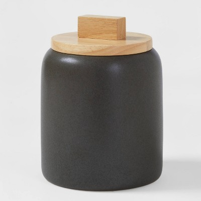 Small Stoneware Tilley Food Storage Canister with Wood Lid Black - Project 62™