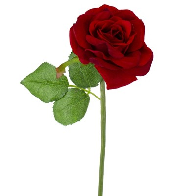 """Darice 8"""" Red and Green Velvet Rose Artificial Floral Christmas Pick"""