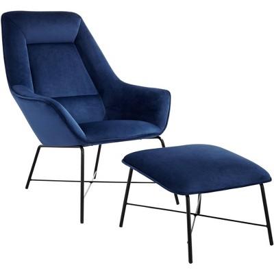 Studio 55D Hemingway Blue Velvet Lounge Chair with Ottoman