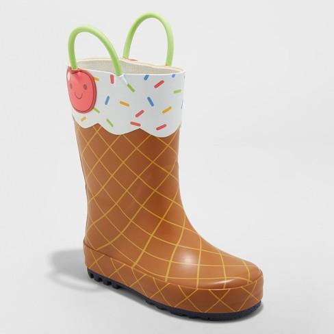 Toddler Girls' Minerva Ice Cream Rain Boots - Cat & Jack™ Brown - image 1 of 3