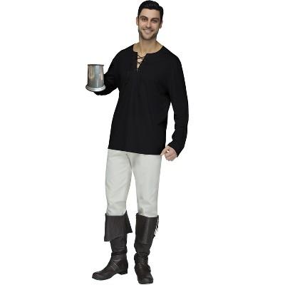 Fun World Peasant Shirt Adult Costume (Black)