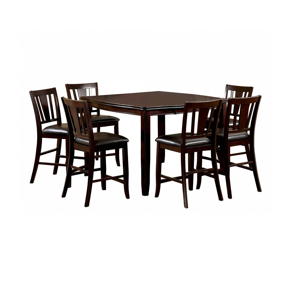 7pc Glaivewood Sturdy Counter Dining Table Set Espresso - ioHOMES
