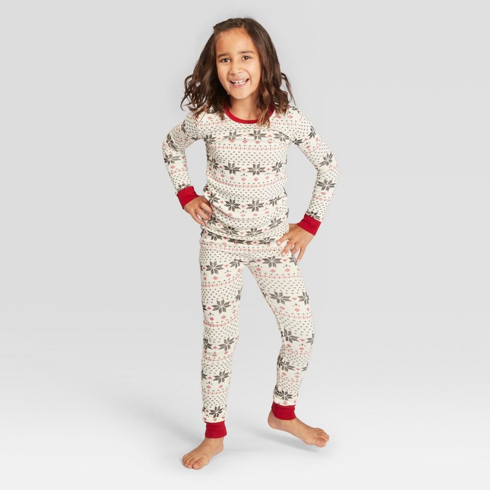 Burt's Bees Baby Kids' Holiday Organic Cotton Snowflake Pajama Set - Ivory M, Kids Unisex, White