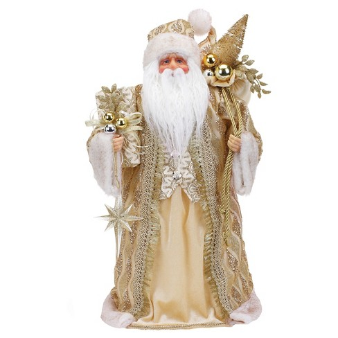 19 Quot Gold Santa With Christmas Tree Topper Target
