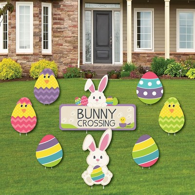 Big Dot of Happiness Hippity Hoppity - Yard Sign & Outdoor Lawn Decorations - Easter Bunny Party Yard Signs - Set of 8