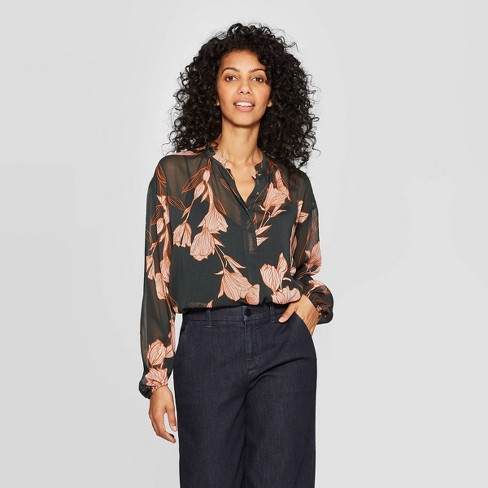 Women's Floral Print Regular Fit Long Sleeve V-Neck Popover Blouse - A New Day™ Green - image 1 of 3