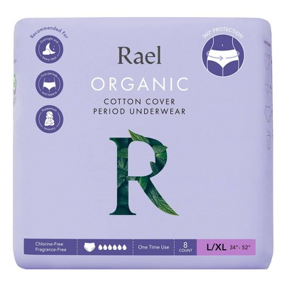 Rael Organic Cotton Overnight Period Underwear - Unscented - L/XL - 8ct