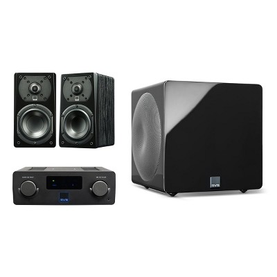 SVS Prime Wireless SoundBase and Prime Satellite 2.1 Speaker Package with 3000 Micro Subwoofer (Premium Black Ash/Piano Black)