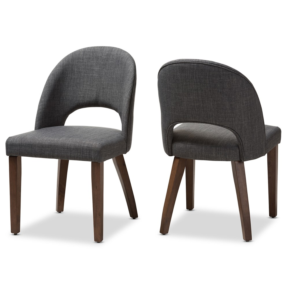 Set of 2 Baxton Studio Wesley Mid Century Modern Walnut Finished Wood Fabric Upholstered Dining Chair Dark Gray