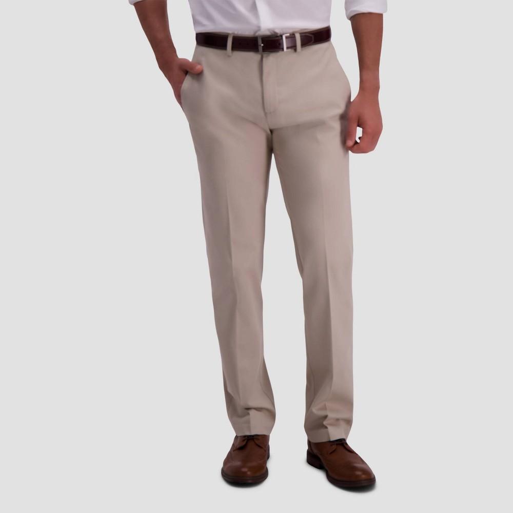 Haggar Men 39 S Premium No Iron Straight Fit Flat Front Casual Pants Sand 38x32