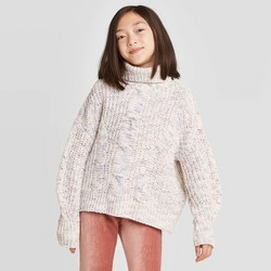 Girls' Chenille Cable Knit Sweater - art class™