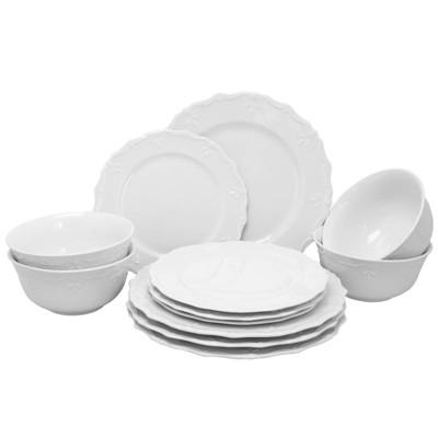 Gibson Home 12pc Ceramic Scallop Buffet Dinnerware Set White
