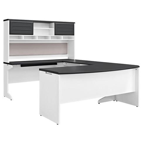 Pursuit U Shaped Desk With Hutch Bundle White Gray Ameriwood Home Target