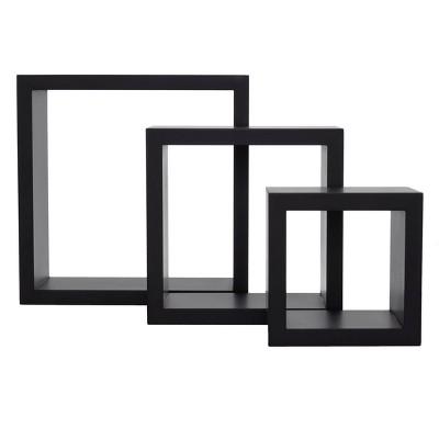 Set of 3 Cubbi Floating Wall Shelves Black