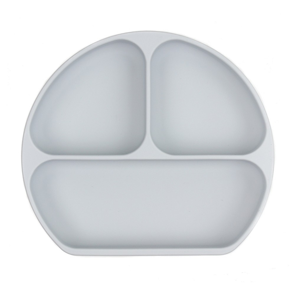Image of Bumkins Silicone Grip Dish - Gray, Light Grey