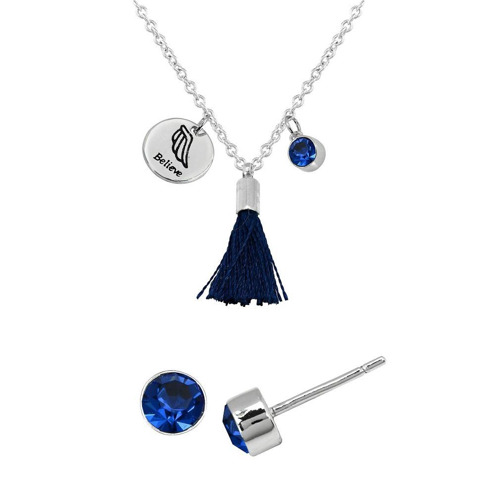Women's Silver Plated Pend/Ear Set - Believe Disc/Sapphire Tassel - Crystal - Sapphire - White, Blue