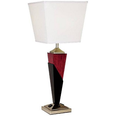 360 Lighting Modern Table Lamp with AC Power Outlet in Base Tapered Wood Column Inverted Linen Shade Living Room Bedroom Bedside