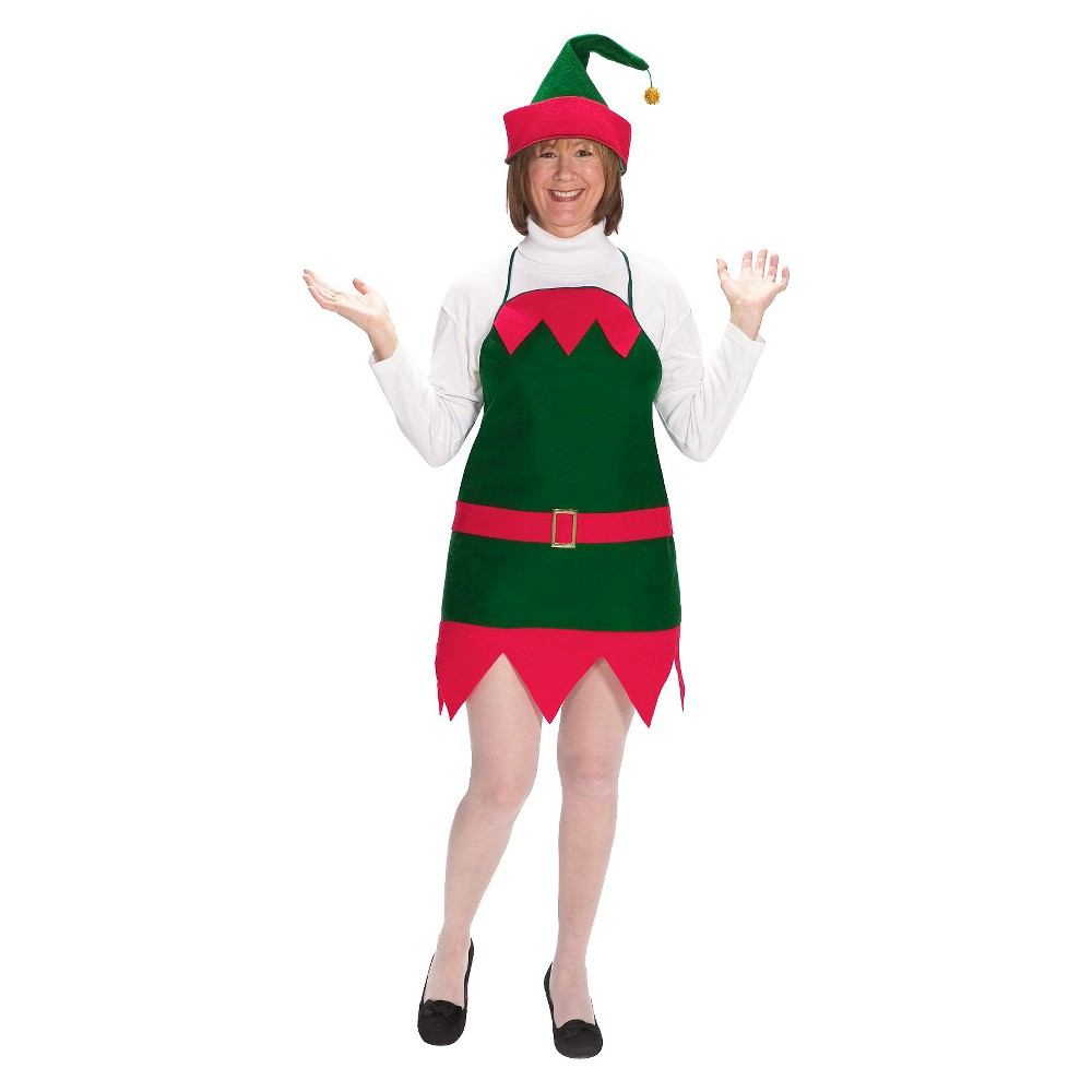 Women's Holiday Elf Apron and Hat Costume One Size