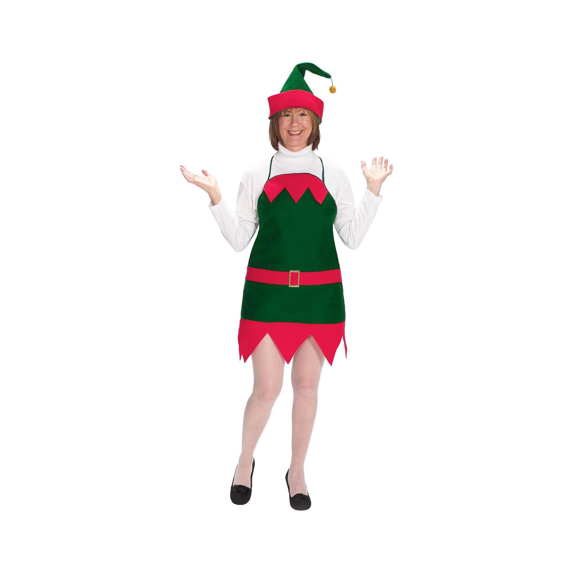 Halloween Women's Holiday Elf Apron and Hat Costume One Size