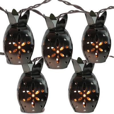 Kurt S. Adler 10 Pineapple Novelty Christmas Lights - 7.5 ft Brown Wire