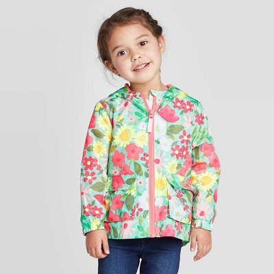 Toddler Girls' Floral Print Windbreaker Jacket - Cat & Jack™ Green 3T