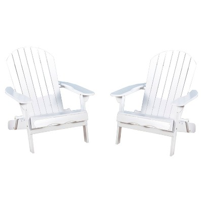Hanlee Set of 2 Folding Wood Adirondack Chair White - Christopher Knight Home