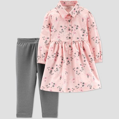 Baby Girls' 2pc Floral Dress Set - Just One You® made by carter's Peach/Gray Newborn