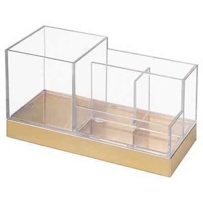 Square Bathroom Vanity Organizer Clear/Soft Brass - iDESIGN