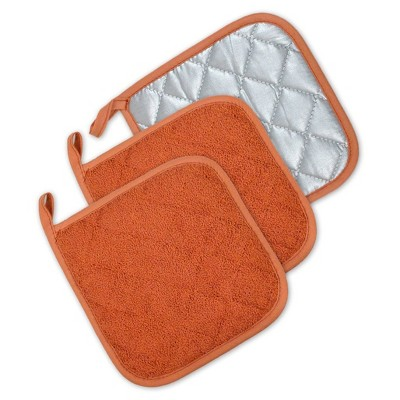 3pk Orange Potholder (7 x7 )- Design Imports
