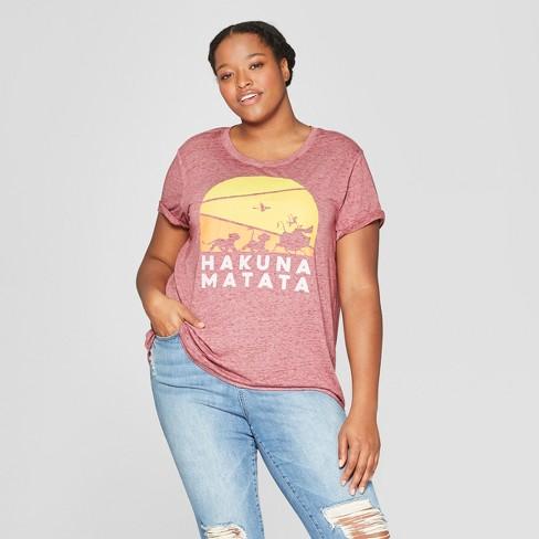 1211bb19cf8 Women s The Lion King Hakuna Matata Plus Size Short Sleeve T-Shirt -  (Juniors ) - Burgundy