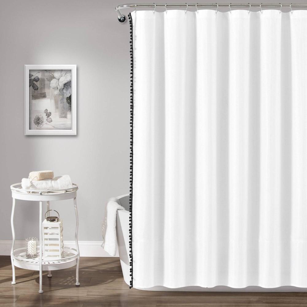 """Image of """"72""""""""x72"""""""" Pom Pom Shower Curtain Black - Lush Décor"""""""