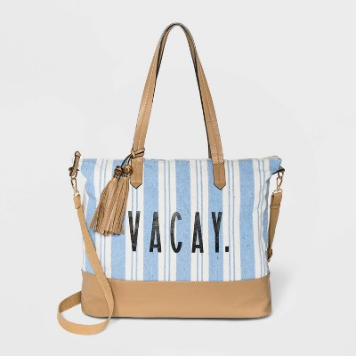 VR NYC Striped Zip Closure Tote Handbag - Blue