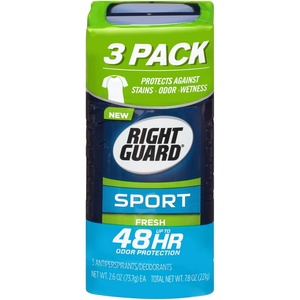 Image of Right Guard Sport Antiperspirant Deodorant Fresh Invisible Solid Stick - 2.6oz/3pk